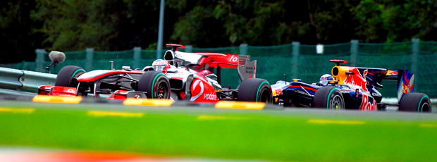 Button e Vettel, GP da Bélgica. F1