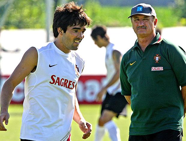Deco e Felipão no treino do Portugal em 2006