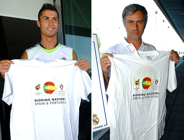 montagem Cristiano Ronaldo José Mourinho camisa candidatura Copa