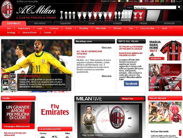Robinho no site do Milan