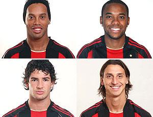 montagem Ronaldinho Gaúcho Robinho Pato Ibrahimovic Milan