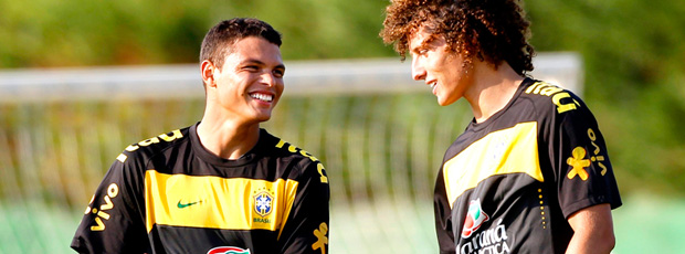 thiago silva david luiz brasil treino