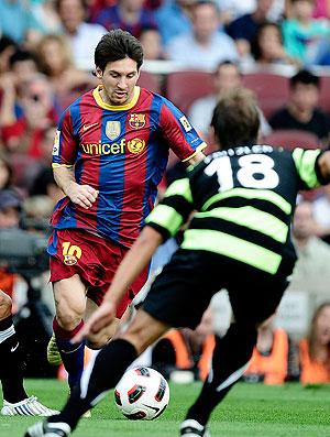Messi na partida do Barcelona contra o Hercules