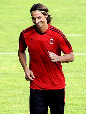 Ibrahimovic no treino do Milan