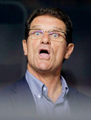 Capello, faz careta durante jogo do Milan