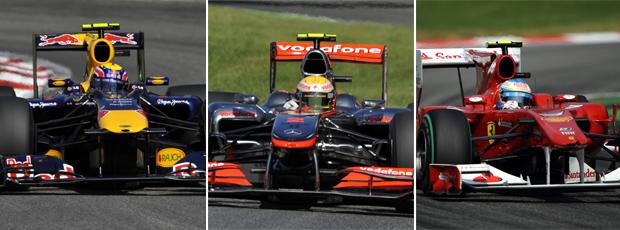montagem carros F1 webber hamilton alonso