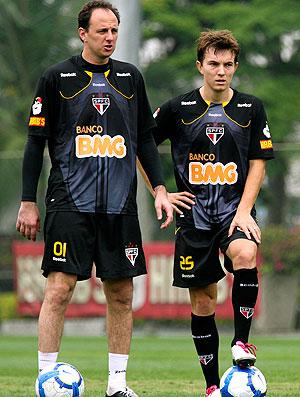 Rogério Ceni e Dagoberto no treino do São Paulo