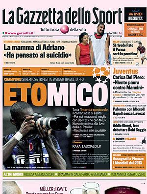 capa jornal Eto´o Inter de Milão