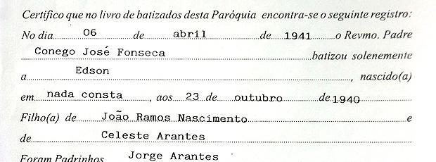 Certidão de batismo Pelé