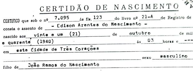 Certidão de nascimento Pelé