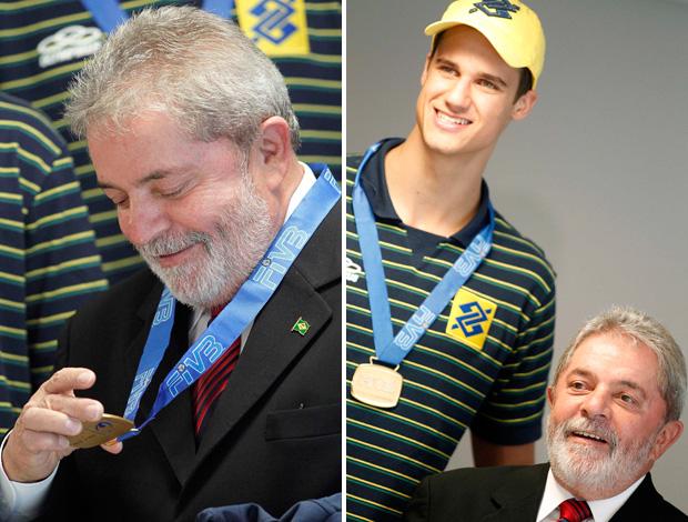 vôlei - montagem presidente lula com seleção brasileira
