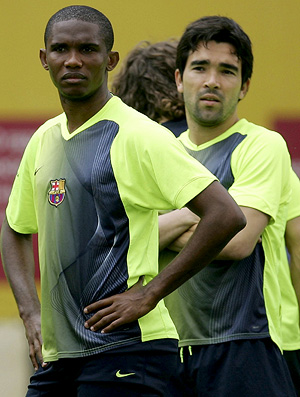 eto'o e deco no treino do barcelona 2006