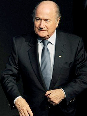 Joseph Blatter no sorteio do Mundial de Clubes na sede da FIFA