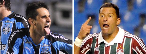 MONTAGEM - Jonas do Grêmio e Washington do Fluminense