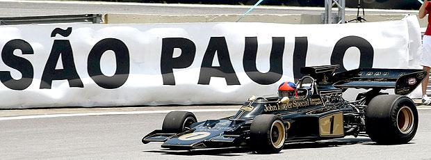 Emerson Fittipaldi corre com a Lotus em Interlagos