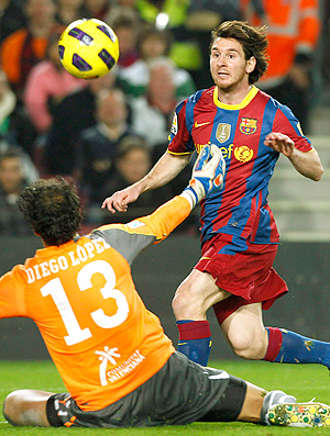 Messi marca gol do Barcelona contra o Villarreal
