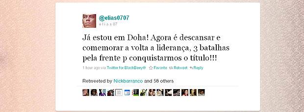 Elias deixa recado de Doha no twitter