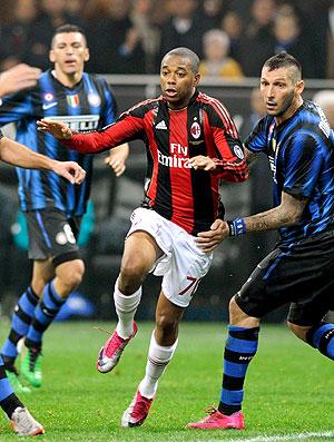 Robinho na partida do Milan contra o Inter de Milão