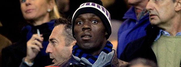 Usain Bolt na partida entre Inter de Milão e Milan