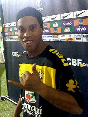 Ronaldinho Gaucho no treino da seleção em Doha