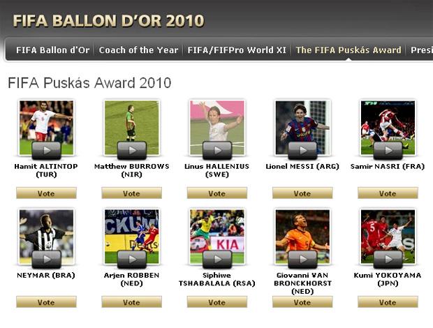 Reprodução site da FIFA - neymar concorre a gol mais bonito do ano