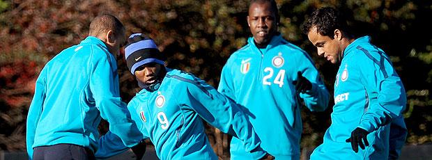 Eto´o no treino da Inter de Milão para a Liga dos Campeões
