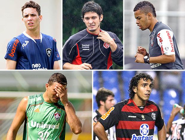 Montagem - Dentinho (Corinthians), Diogo (Flamengo), Washington (Fluminense), Caio (Botafogo) e Edu (Inter)