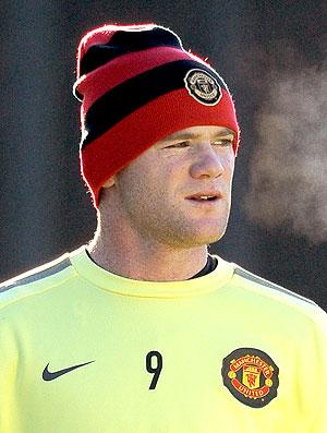 Rooney no treino do Manchester United para a Liga dos Campeões (Foto: AFP)
