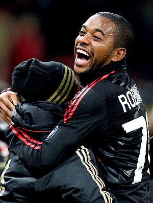 Robinho comemora gol do Milan contra o Sampdoria