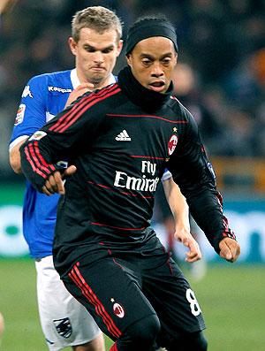 Ronaldinho Gaúcho na partida do Milan contra o Sampdoria
