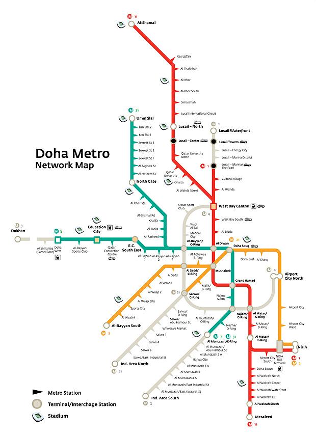 linhas metrô qatar (Foto: divulgação)