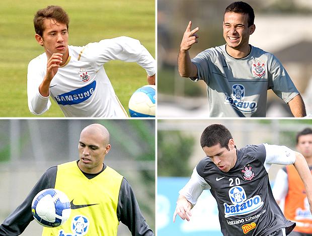 MONTAGEM - Everton Ribeiro, Morais, Edno e Marcelo Oliveira nos tempos de Corinthians