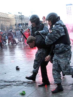 Protesto contra a morte de um torcedor do Spartak Moscou na Russia