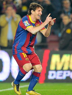 Messi comemora gol do Barcelona contra o Real Sociedad