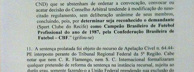parecer cbf campeão brasileiro 1987
