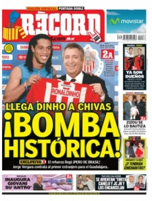 capa do record do mexico com ronaldinho no chivas