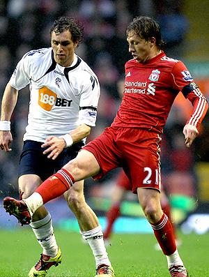 Lucas na partida do Liverpool contra o Bolton