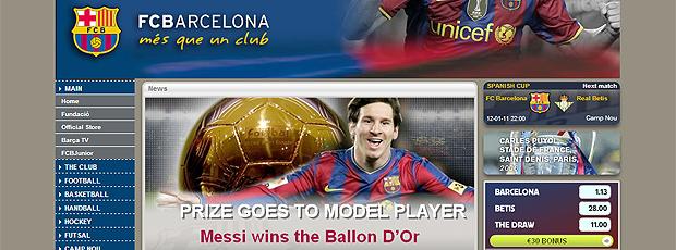 Site Barcelona Messi bola de ouro