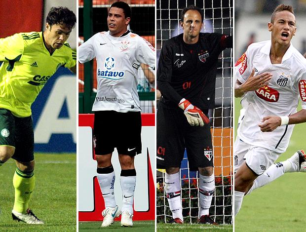 MONTAGEM - Neymar (Santos), Ronaldo (Corinthians) , Ceni (São Paulo) e Kleber (Palmeiras)