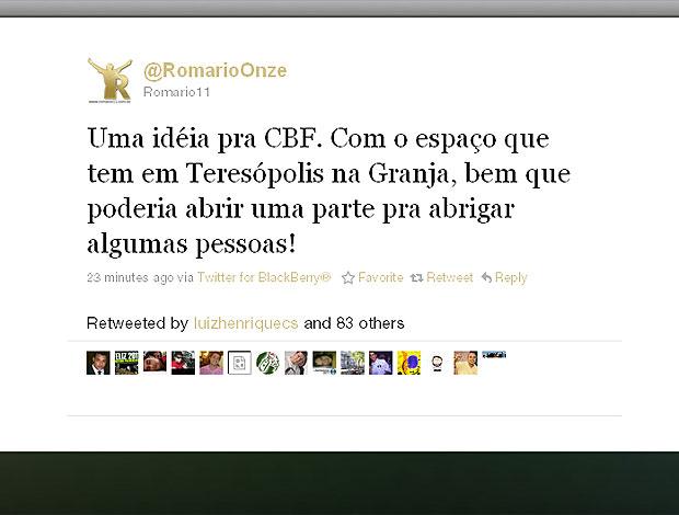 twitter Romário ajuda