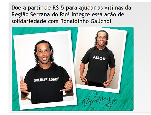Ronaldinho camisa ajuda Vítimas Rio