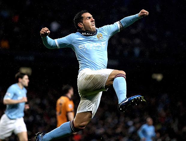 Tevez comemora gol do City