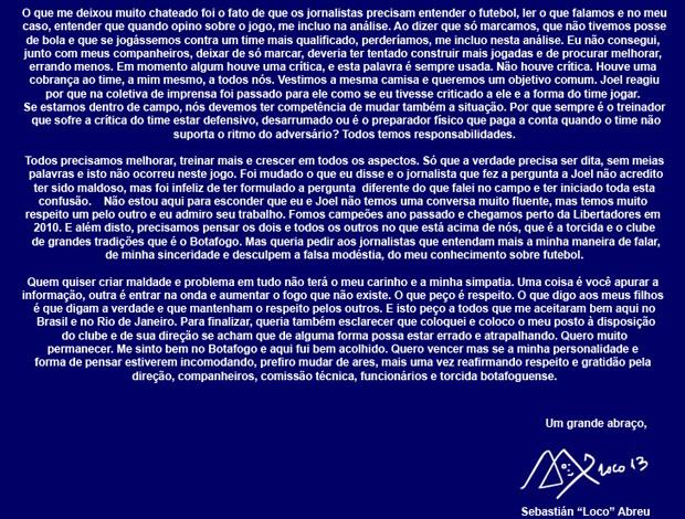 carta aberta Loco Abreu Botafogo