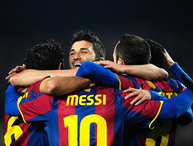 Messi comemora gol do Barcelona contra o Almeria