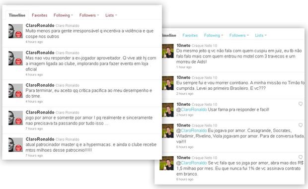 twitter ronaldo e neto (Foto: Editoria de Arte / Globoesporte.com)