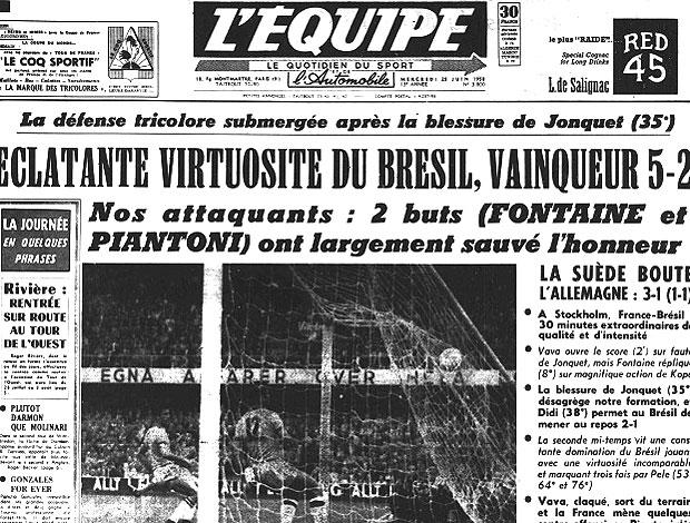 capa derrotas Brasil jogo França L´Equipe (Foto: Reprodução / Site Oficial)