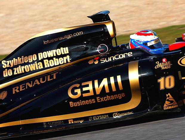 Petrov nos testes em Jerez com homenagem para Kubica (Foto: Getty Images)