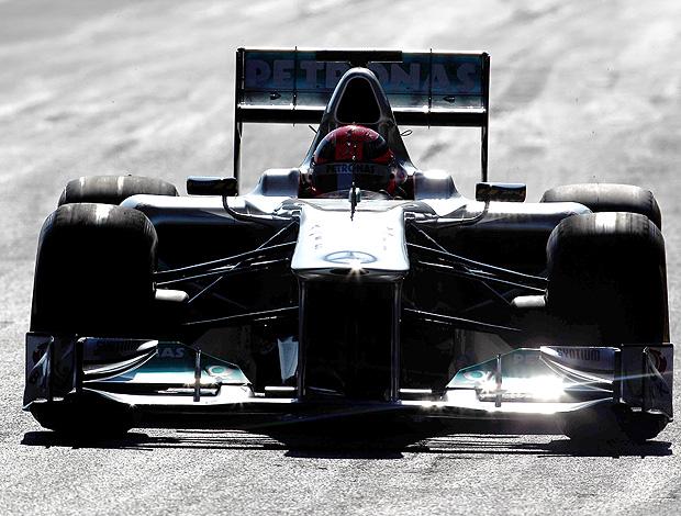 Schumacher no teste da Mercedes em Jerez (Foto: Getty Images)
