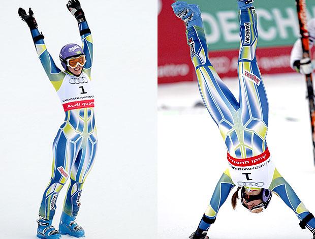 Tina Maze comemoração slalom Mundial de esqui (Foto: Editoria de Arte / GLOBOESPORTE.COM)