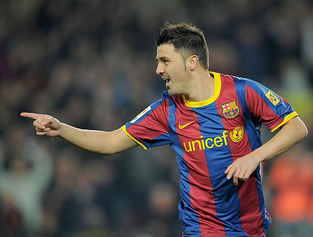 Davod Villa gol Barcelona (Foto: AFP)